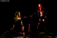Wigs and stockings. Light painted photograph.