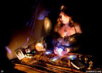 Fortune teller. Light painting photograph.