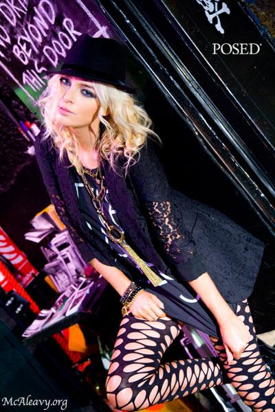 Rock chic. Venue door. Fashion photograph.
