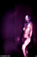 Female figure nude. Infrared light painted photograph.