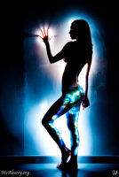 Partial silhouette #2 in leggings. Light painted photograph.