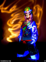 Masked ultraviolet body paint. Light painted photograph.