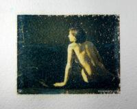 Figure nude on watercolour paper. Polaroid image transfer.