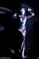 Debay Deluxe in a burlesque corset. Light painted infrared photograph.