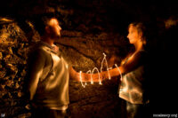 Couple bound together with light. Light painted photograph.