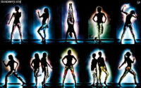 Partial silhouettes. Figures in leggings. Light painted photographs.