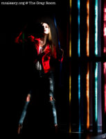 Woman with ropes and colours. Light painted photograph.