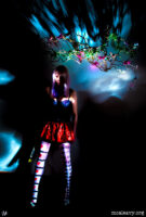 Woman in a dream world. Light painting photograph.